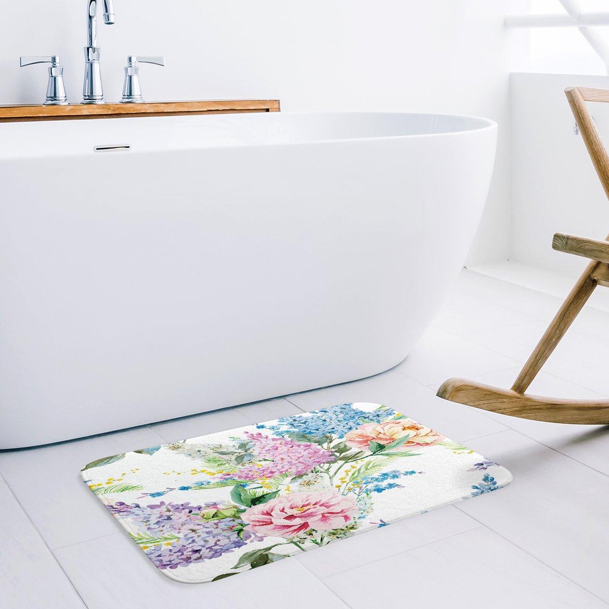 Libaoge Pink Blue Purple Tropical Flowers Palm Leaves Pattern Design Doormat Welcome Mat Entrance Mat Indoor//Outdoor Door Mats