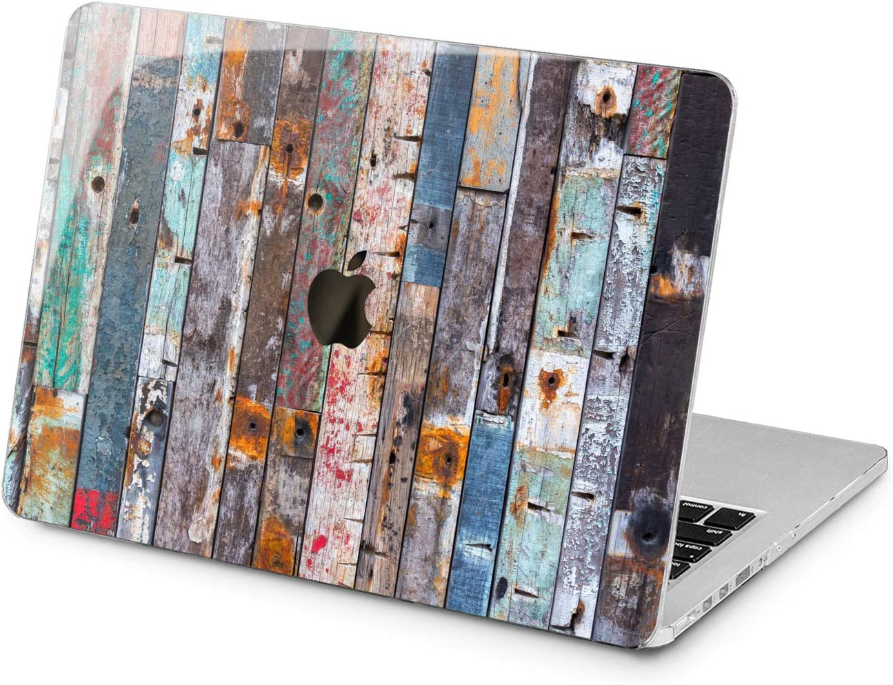 "Cavka Hard Shell Case for Apple MacBook Pro 13"" 2019 15"" 2018 Air 13"" 2020 Retina 2015 Mac 11"" Mac 12"" New Cover Laptop Retro Design Rustic Planks Wood Grunge Print Plastic Protective Colorful Retro"