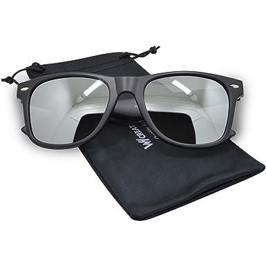 Lunettes de Soleil Polarisées Wayfarer Hommes et Femme QIXU Lunettes Miroir Silver UV 400 Protection avec étui Rigide BMDOe