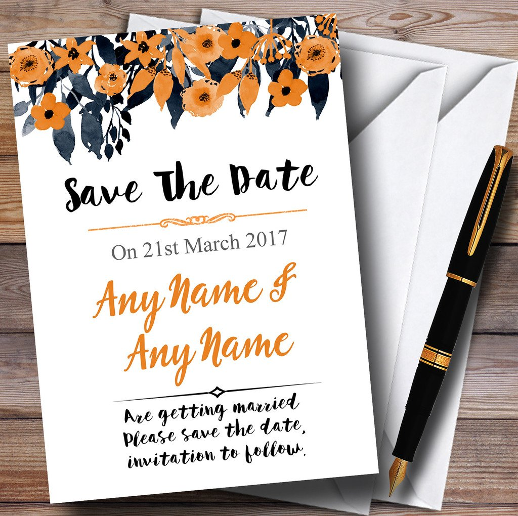 Watercolour Black & Orange Floral Header Personalized Wedding Save The Date C.