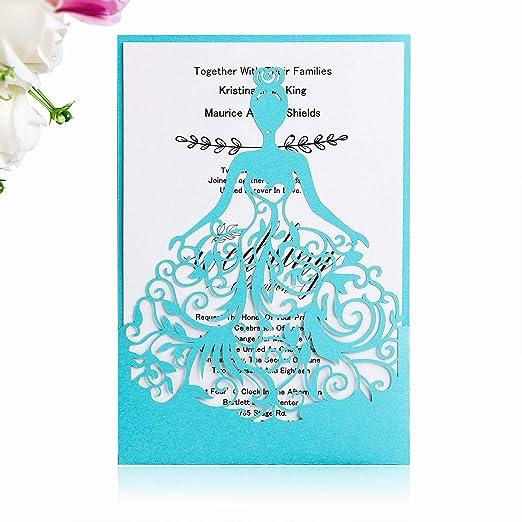 Ponatia 25pcs Lacer Cut Wedding Invitations Card Hollow Bride Invitations Cards For Wedding Bridal Invitation Engagement Invitations Cards Sapphire