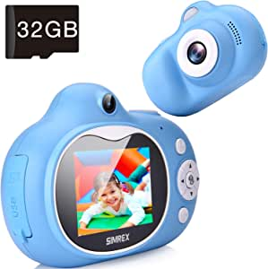 "Simrex Kids Camera, Mini Children Digital Camera for Kids Video Camcorder Shockproof Toys with 2.0"" IPS HD Screen, Bluetooth Speaker Gift for Child Included 32GB TF Cards"