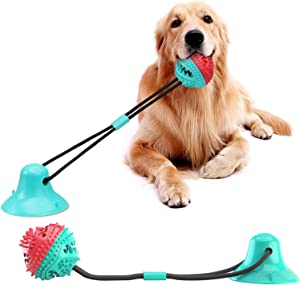 Dog Toys for Aggressive Chewers, Puppy Toys for Molar Training, Dogs Teething Rope Toys with Suction Cup, with Food Dispensing Teeth Cleaning Interactive Features
