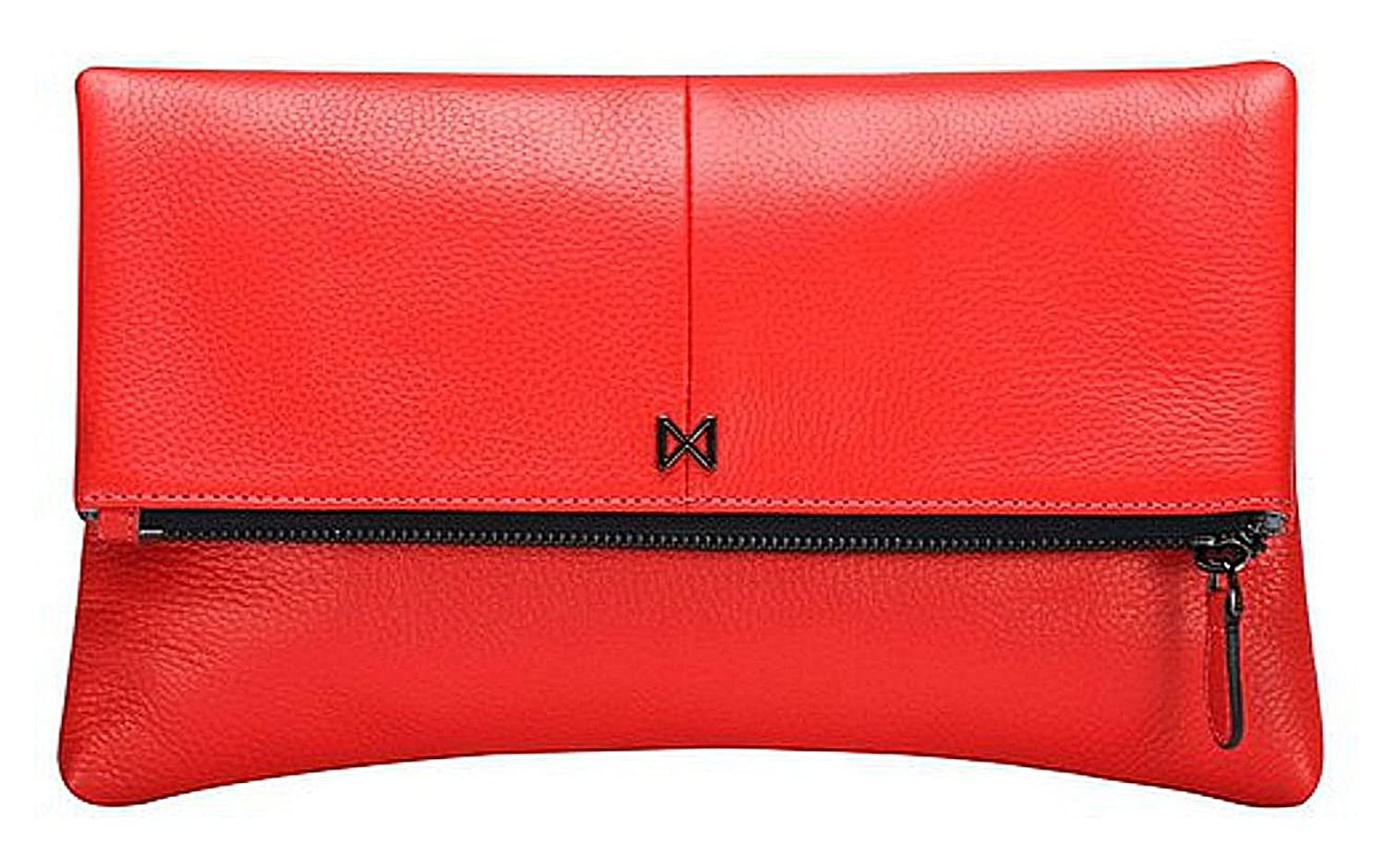 """Gemma"" Foldover, Pouch-Style Clutch Purse, Butter-soft, Pebble Leather, Gunmetal Zipper, Scarlet Red."