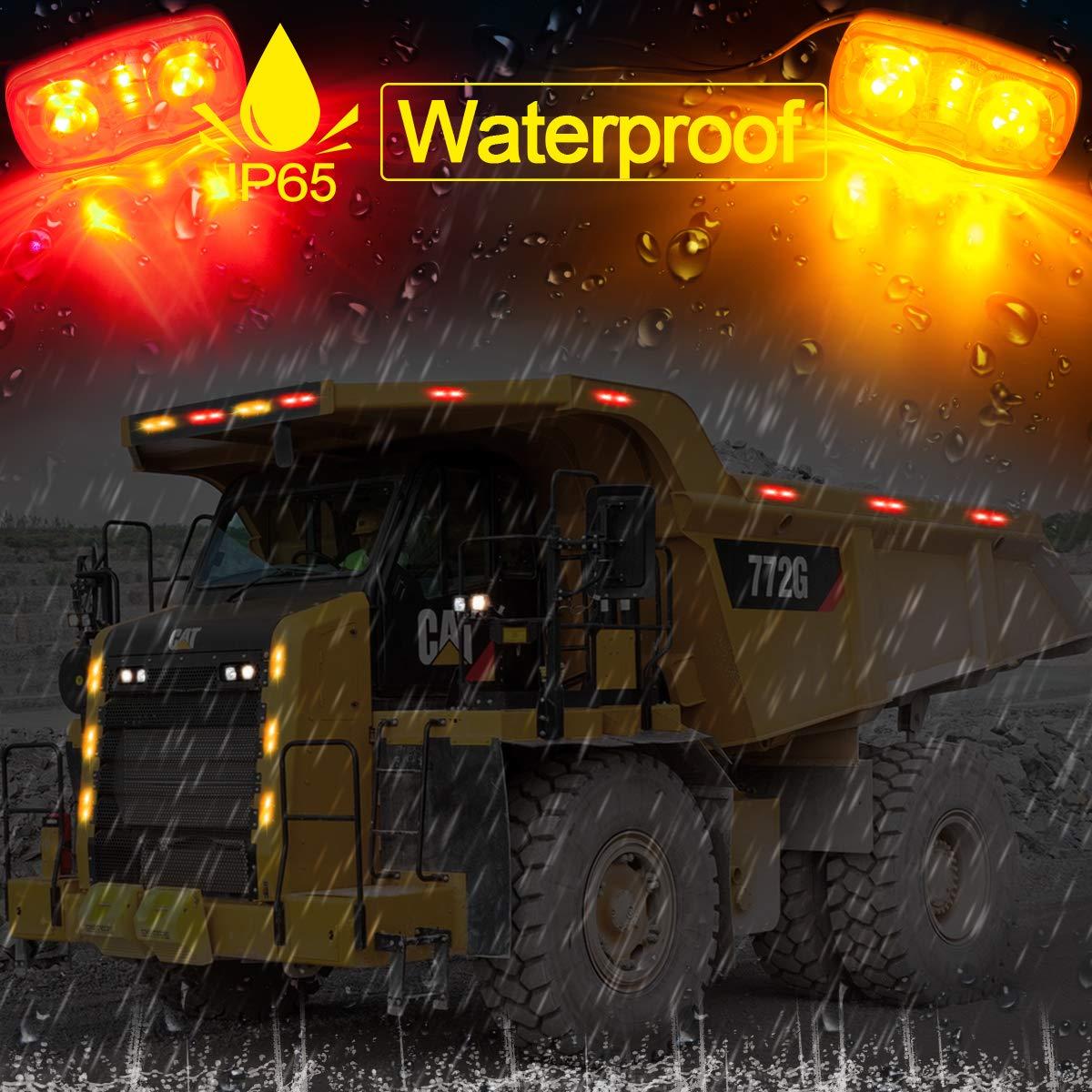 LIMICAR 5PCS LED Side Marker Lights 10 Diodes Double Bullseye Amber LED Trailer Truck Side Marker Light Indicator Tiger Eye Lamp