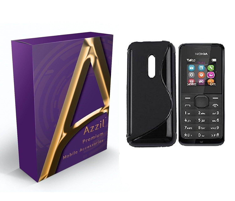 cheaper f4c39 69bc8 Azzil Hybrid S-Line Matte Finish Black Back Cover for Nokia 105 (Black)
