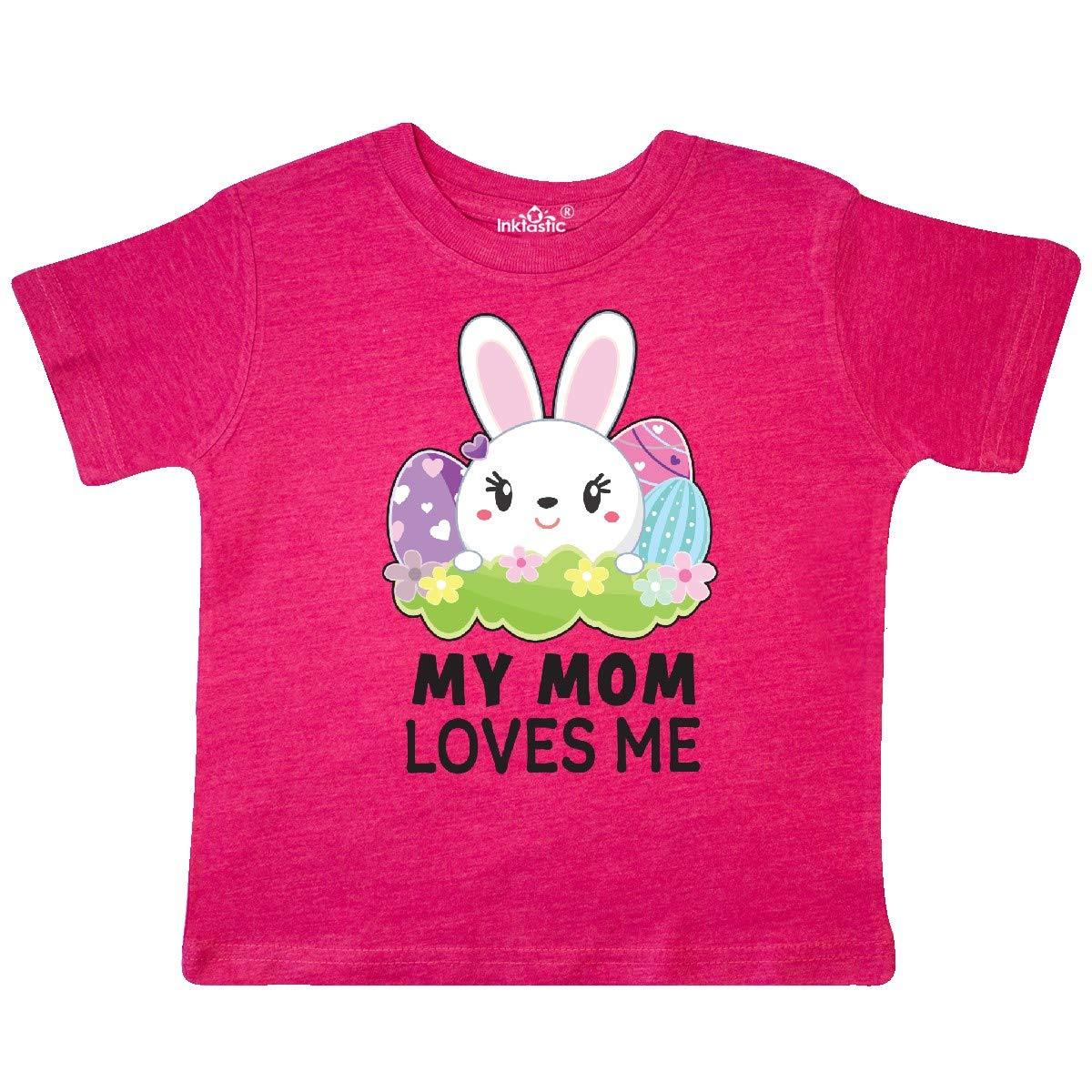 inktastic My Mom Loves Me with Bunny and Easter Eggs Toddler T-Shirt