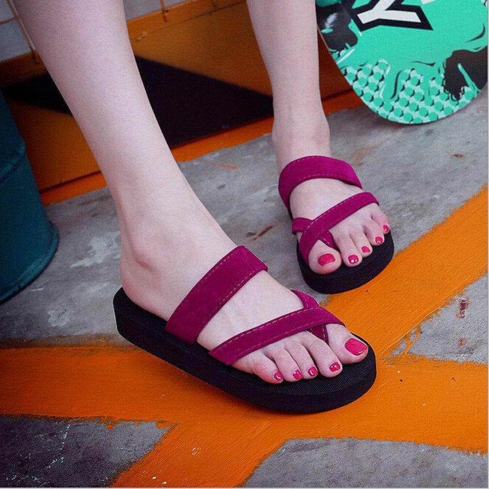 Corriee Womens Summer Clip Toe Slippers Flip Flops Beach Flat Sandals Wine by Corriee (Image #2)