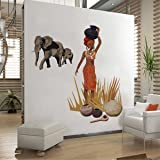 Rawpockets 'African Tribal Jungle Story' Wall Sticker (PVC Vinyl, 1 cm x 70 cm x 130 cm, Multicolour)