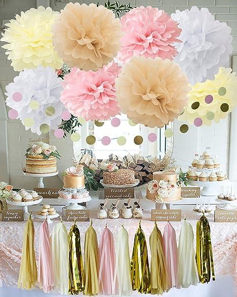 Kit Di Decorazioni Per Feste Da 20 Pezzi Bianco Crema Rosa E Rosa