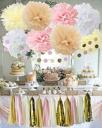 20 Stück Weiß Creme Pink Tan Babyparty Deko Party Deko Set Mit Seidenpapier  Quaste Girlande