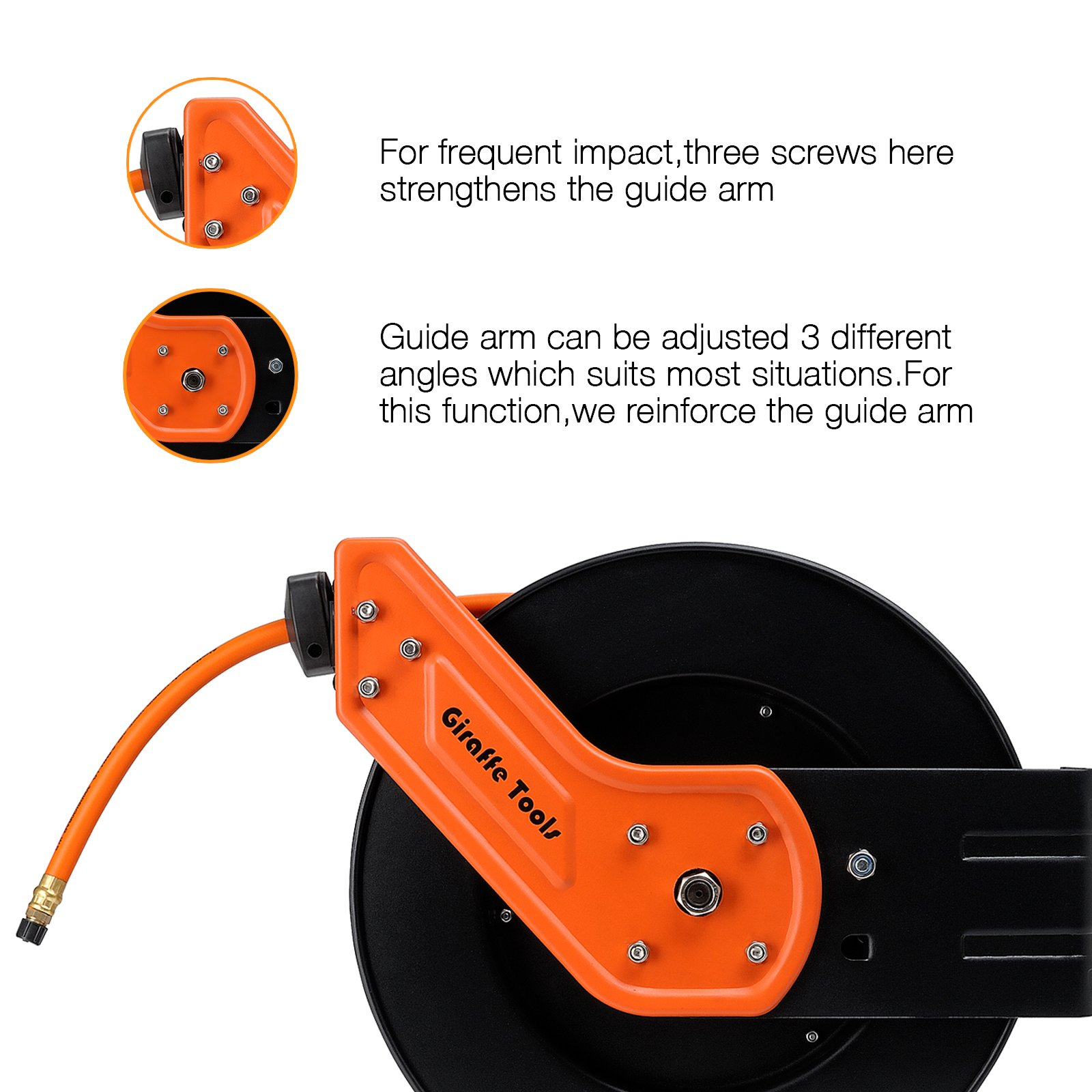 Giraffe Auto Retractable Air /Water Hose Reel with Free 3/8 In. x 50 Ft, 1/4 In. MNPT Hybrid Air Hose.Mountable, Swivel Bracket, 300 PSI and Heavy Duty by Giraffe Tools (Image #4)