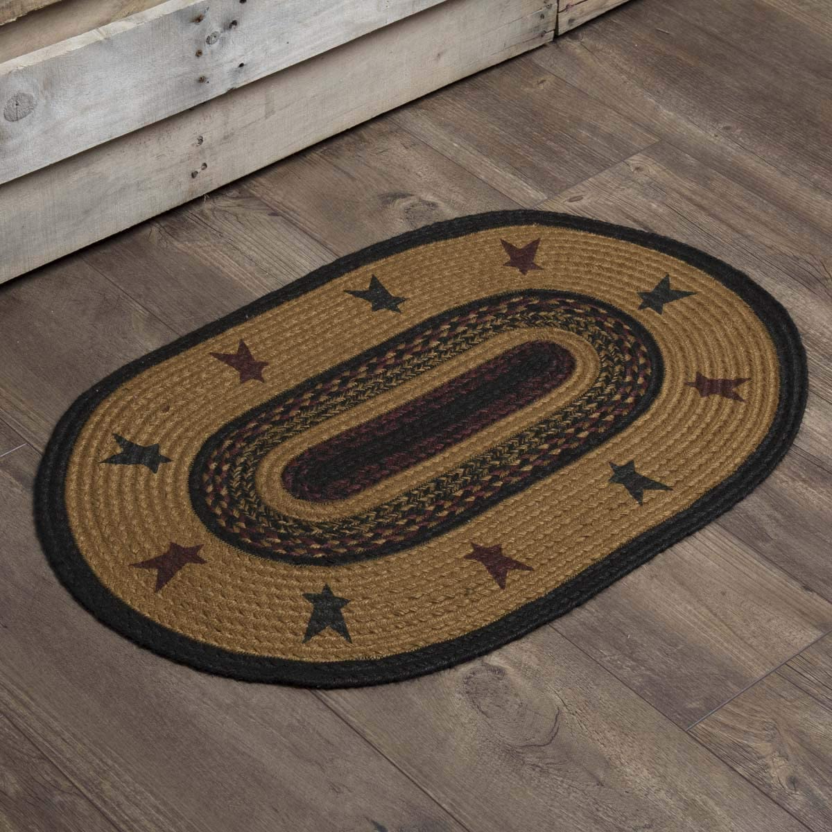 VHC Brands 37915 Primitive Flooring Settlement Star Jute Stenciled Oval Rug, 1 8 x 2 6 , Mustard Tan Yellow