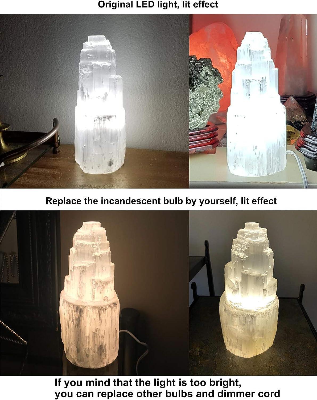 "XL Selenite Crystal Tower Lamp Natural Healing Light w// LED Cord Bulb 13/""-14/"" Re"