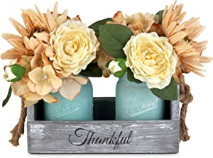 GBtroo Mason Jar Table Centerpiece - Rustic Coffee Table Decor with 2 Mason Jars - Table Centerpieces for Dining Room Decoration - Living Room and Kitchen Table Decorations - Cute Flower Center Pieces