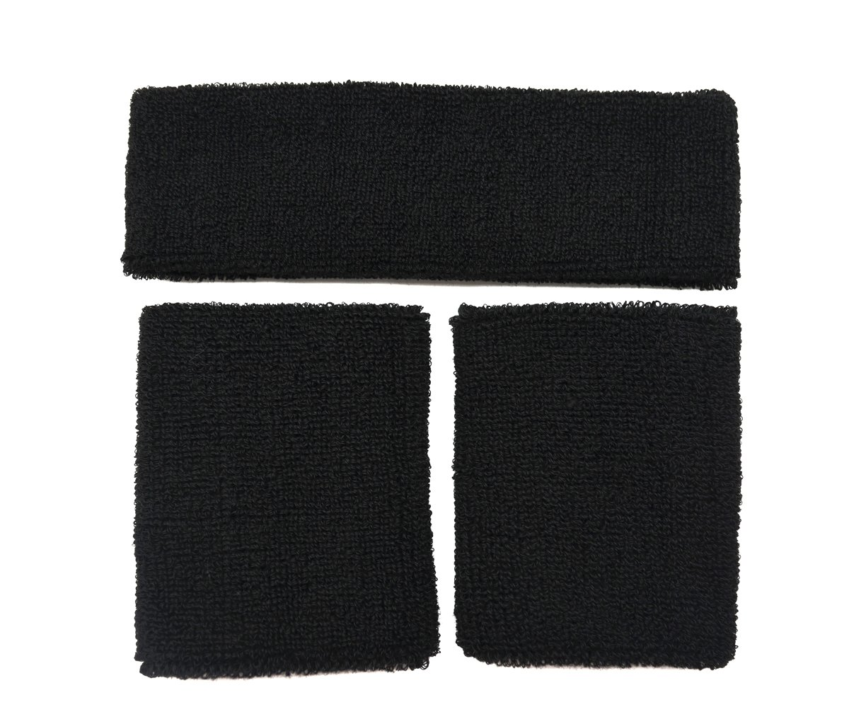 Meta-U Wholesale 5 Sets of Black Thicken Cotton Sports Sweatbands-1Set Including 1Pce of Headband & 2Pcs of Wristbands