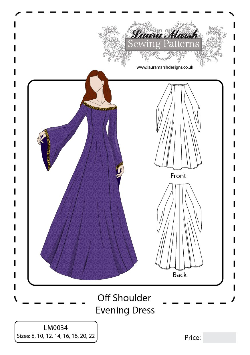 Off shoulder evening dress sewing pattern sizes 8 22 lm0034 off shoulder evening dress sewing pattern sizes 8 22 lm0034 laura marsh designs amazon kitchen home jeuxipadfo Choice Image