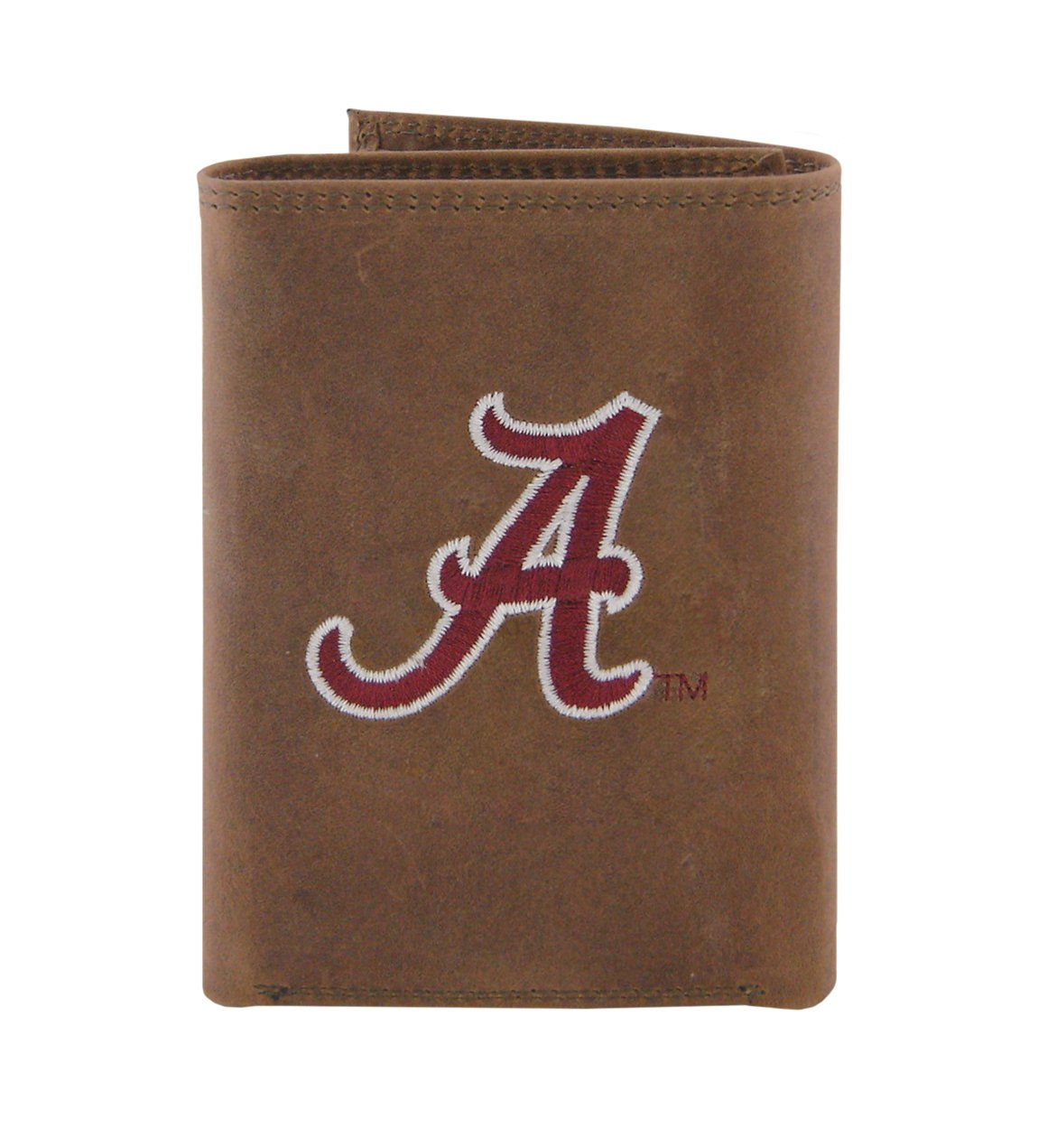 Light Brown NCAA Alabama Crimson Tide Zep-Pro Crazyhorse Leather Trifold Embroidered Wallet