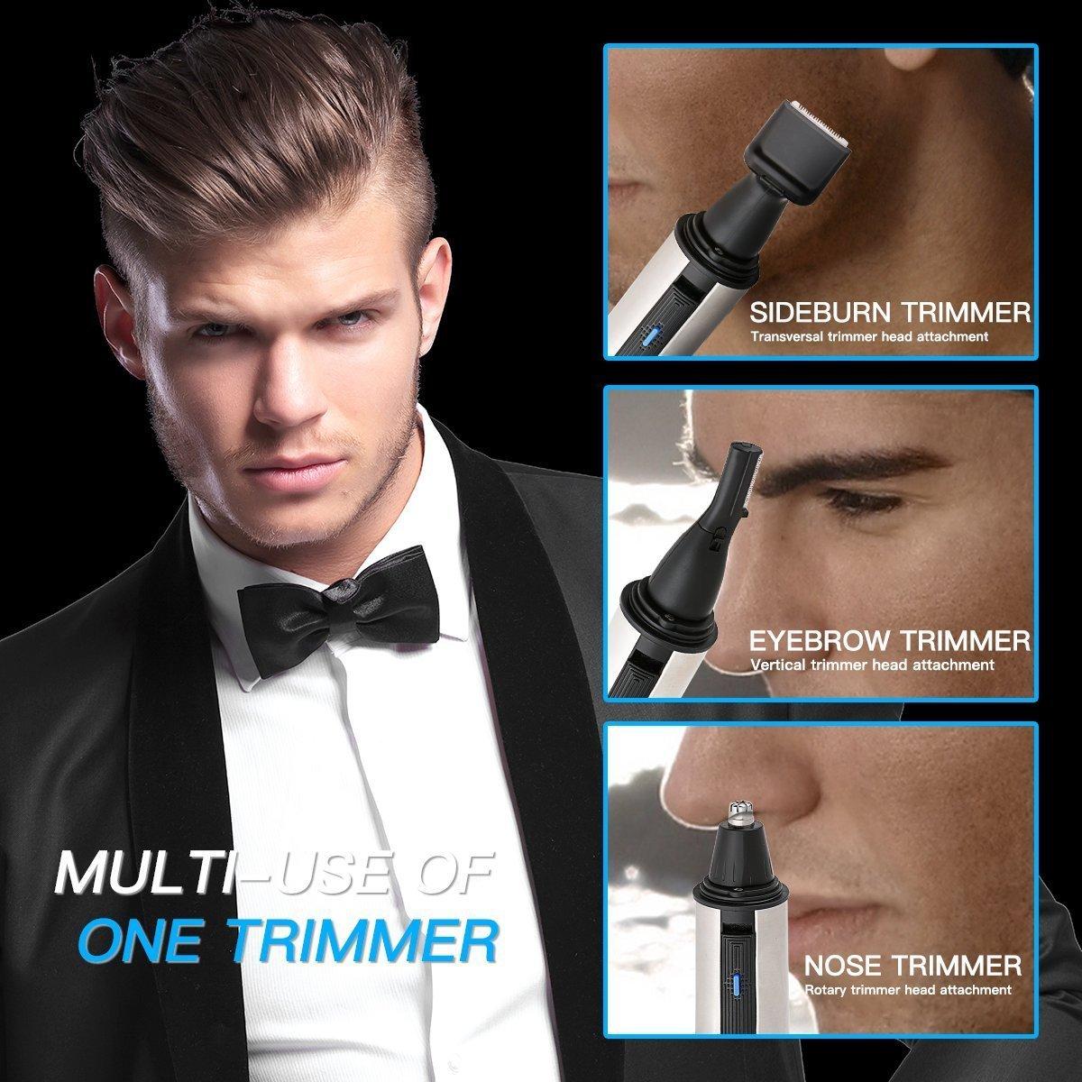 HLYOON Outil d'entretien, tondeuse de poils de nez pour hommes, étanche en acier inoxydable trois-en-un