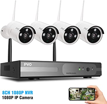 8 Channel Home Security Camera System 4PCS 1080P WiFi Security Camera Outdoor Built