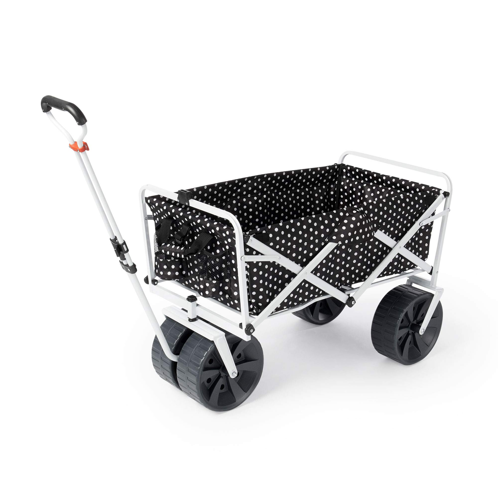 Mac Sports Heavy Duty All Terrain Folding Multi Utility Beach Wagon, Black Dots by Mac Sports