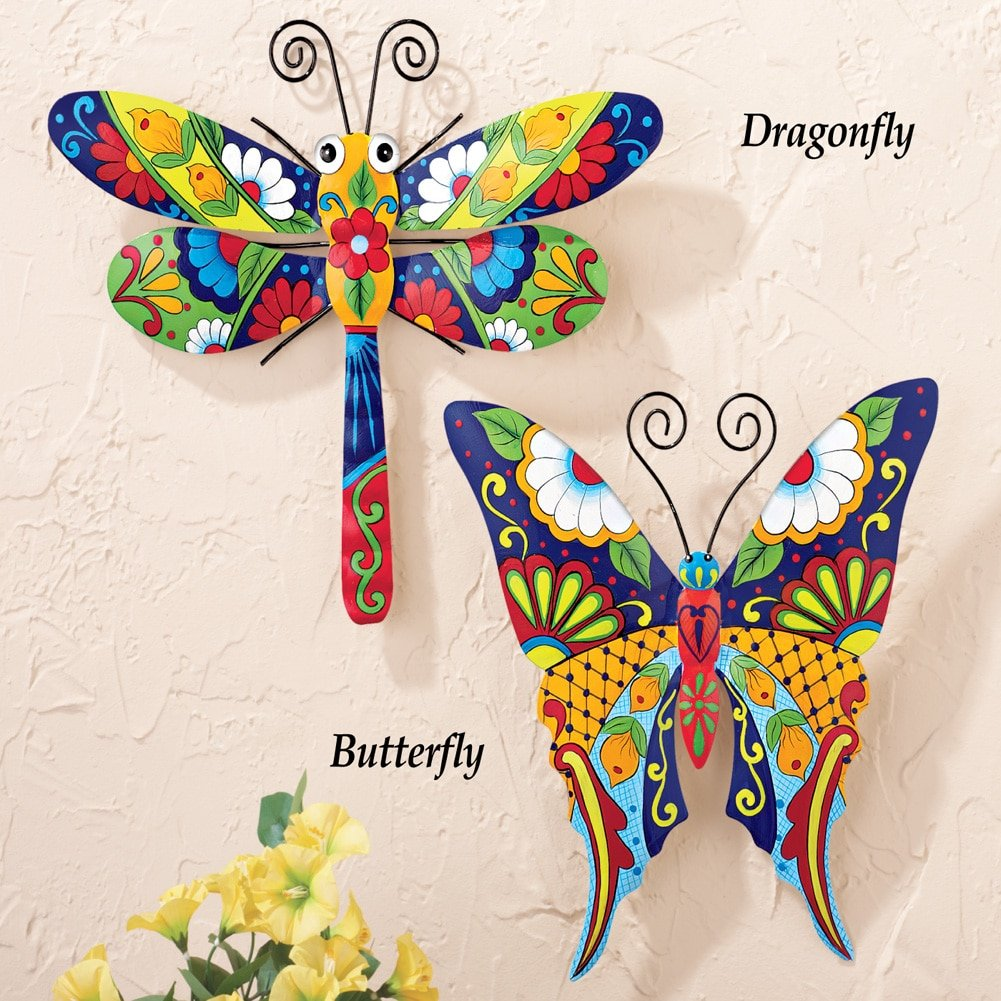 Collections Etc Colorful Metal Mexican Talavera-Style Insect Garden Wall Art for Indoor and Outdoor Decoration, Dragonfly by Collections Etc (Image #2)