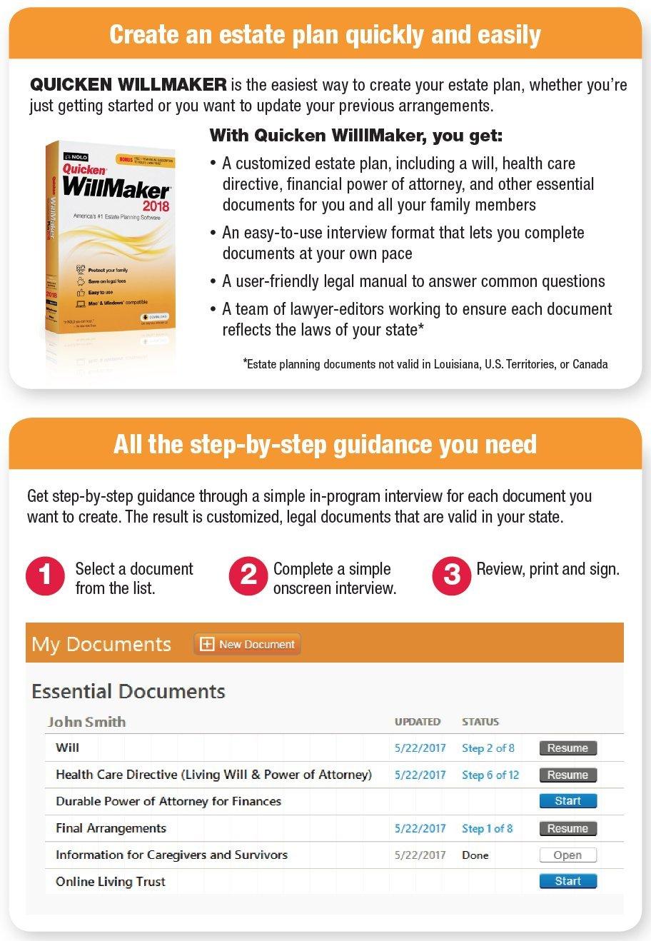 Quicken WillMaker Premium Home & Family 2018 - Windows & Mac - CD