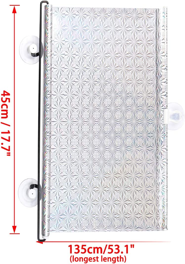 sourcing map Auto Car Retractable Roll Blind Side Window Sun Shade Silver Tone 125cm x 45cm