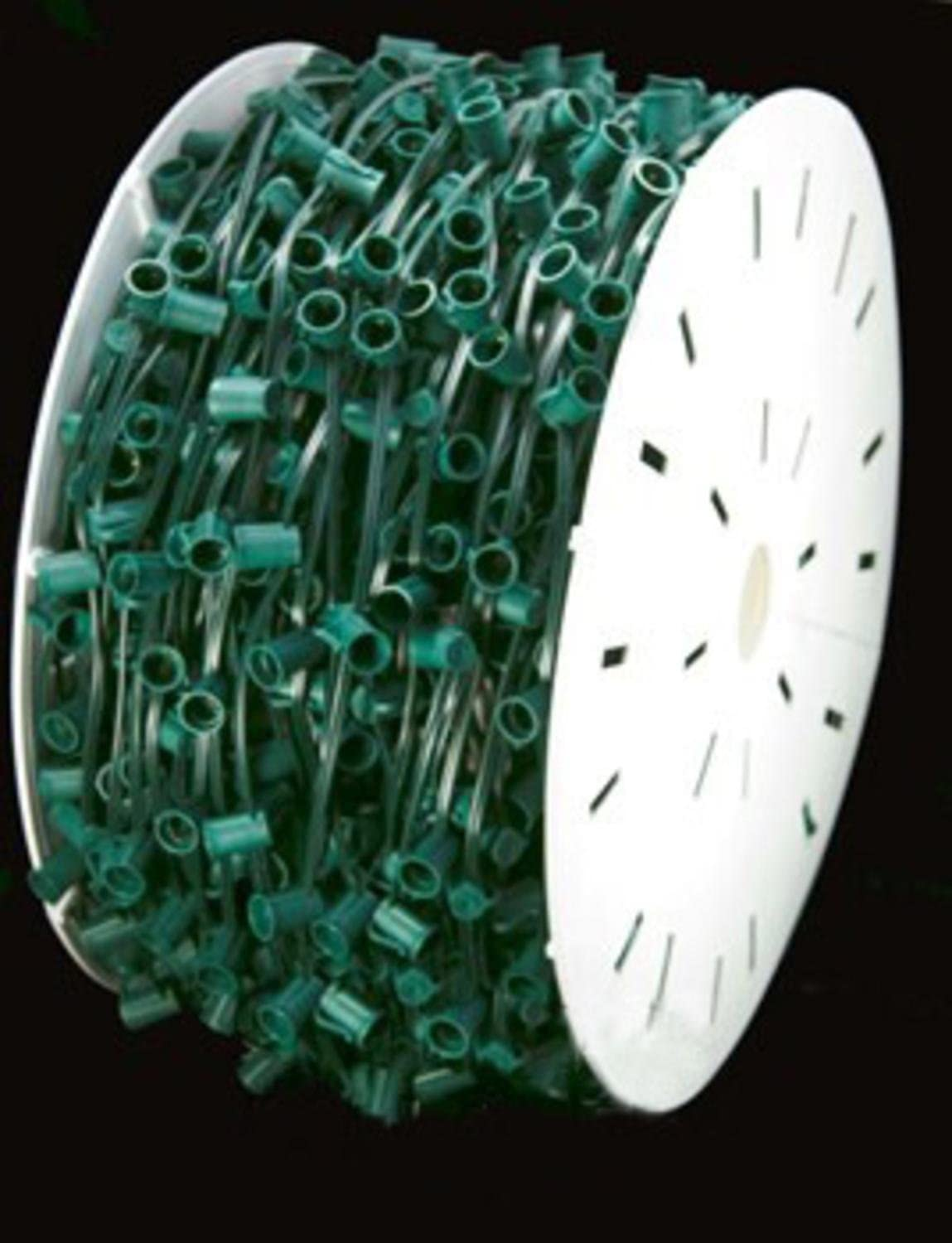 """100 Commercial Length Green LED Faceted C9 Christmas Lights on Spool 5/"""" Spacing"""