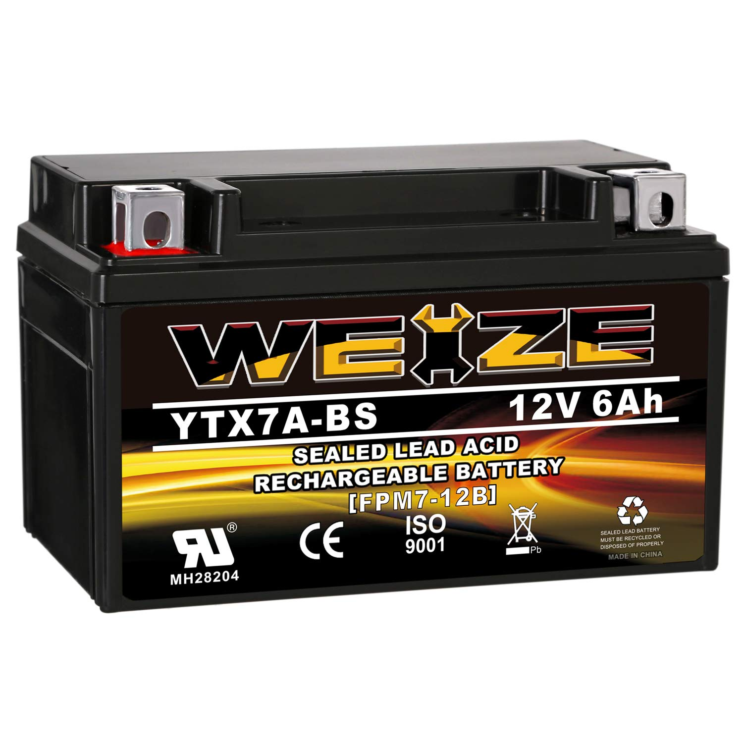 Weize YTX7A-BS High Performance - Maintenance Free - Sealed AGM Motorcycle Battery Replacement For Gas Gy6 Scooter Moped 50CC 125CC by WEIZE