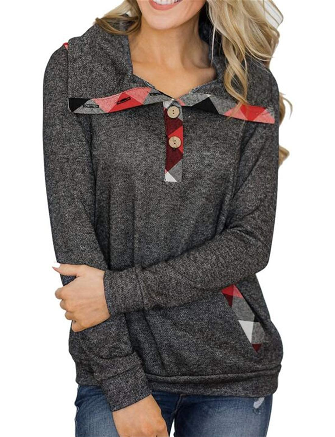 YYear Womens Solid Plaid Check Casual Two Button Pocket Lapel Pullover Sweatshirt