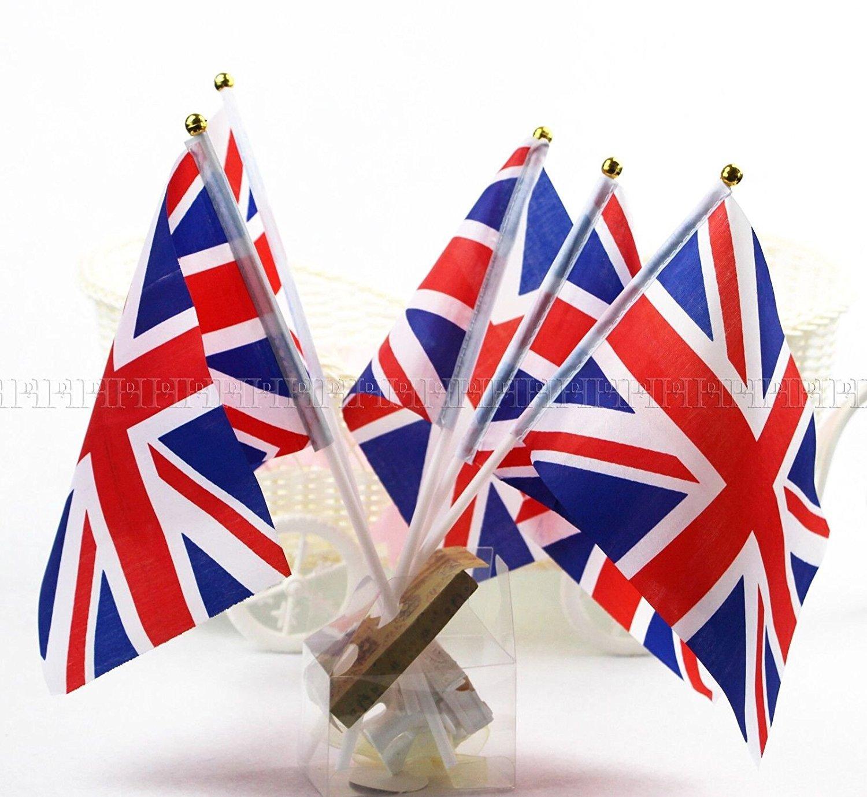 10pcs Union Jack Hand Waving Flag Royal Jubilee UK GB Great Britain Flag Doyeemei