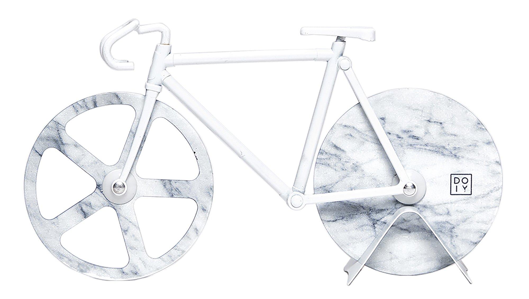 Doiy Fixie Bicycle Pizza Cutter Bike (White Marble)