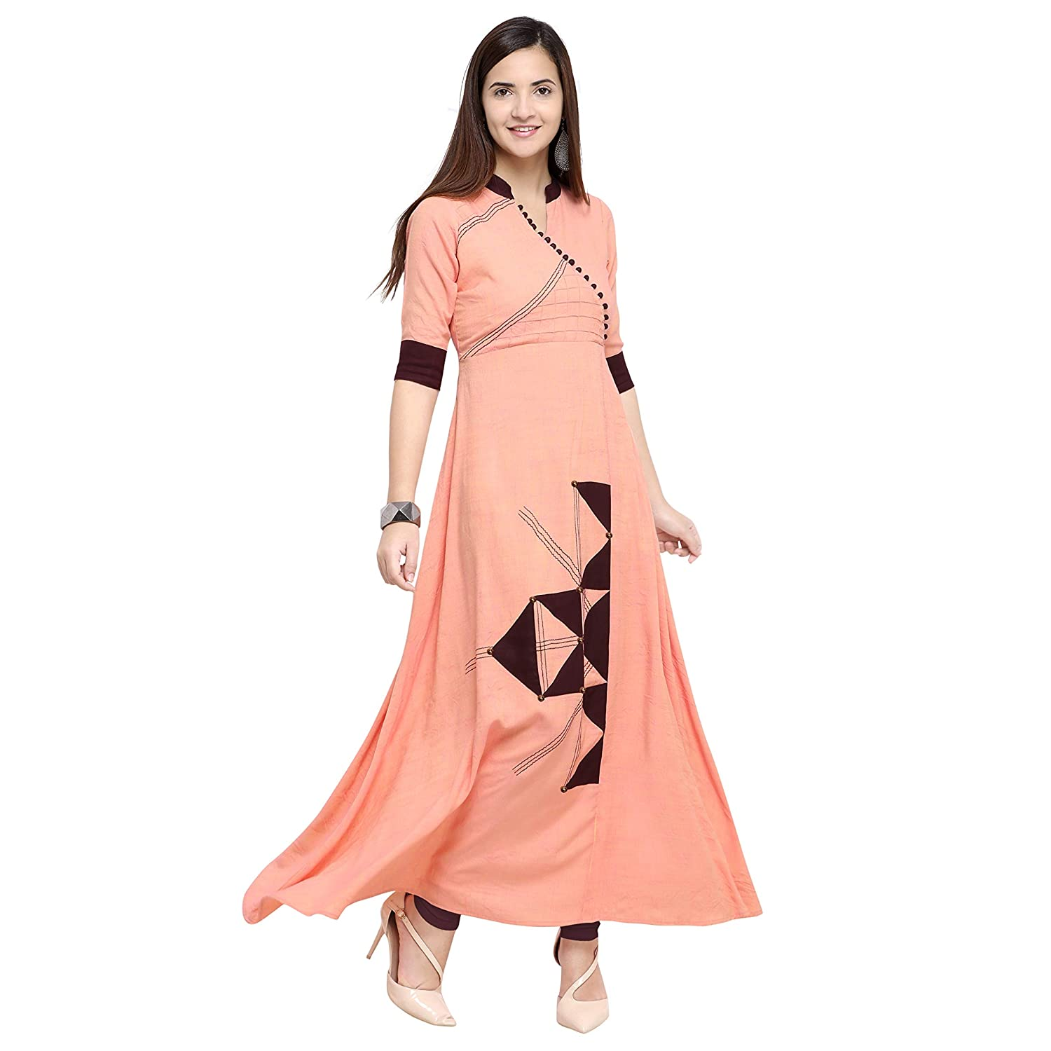 3c3a6a8fbd AK Creation Women's Light Pink,Orange,Off White Color Embroidered Flared  rayon fabric fancy look designer Long kurti: Amazon.in: Clothing &  Accessories