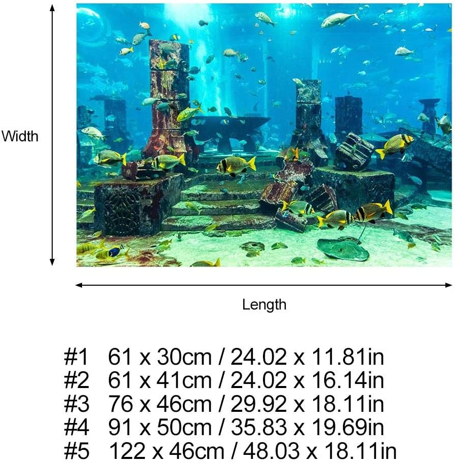 76 * 46cm PVC Aquarium Background ,PVC Coral Aquarium Background Underwater Poster Fish Tank Wall Sticker Sided Bed Lake Adhesive Wallpaper Pictures Image Forest