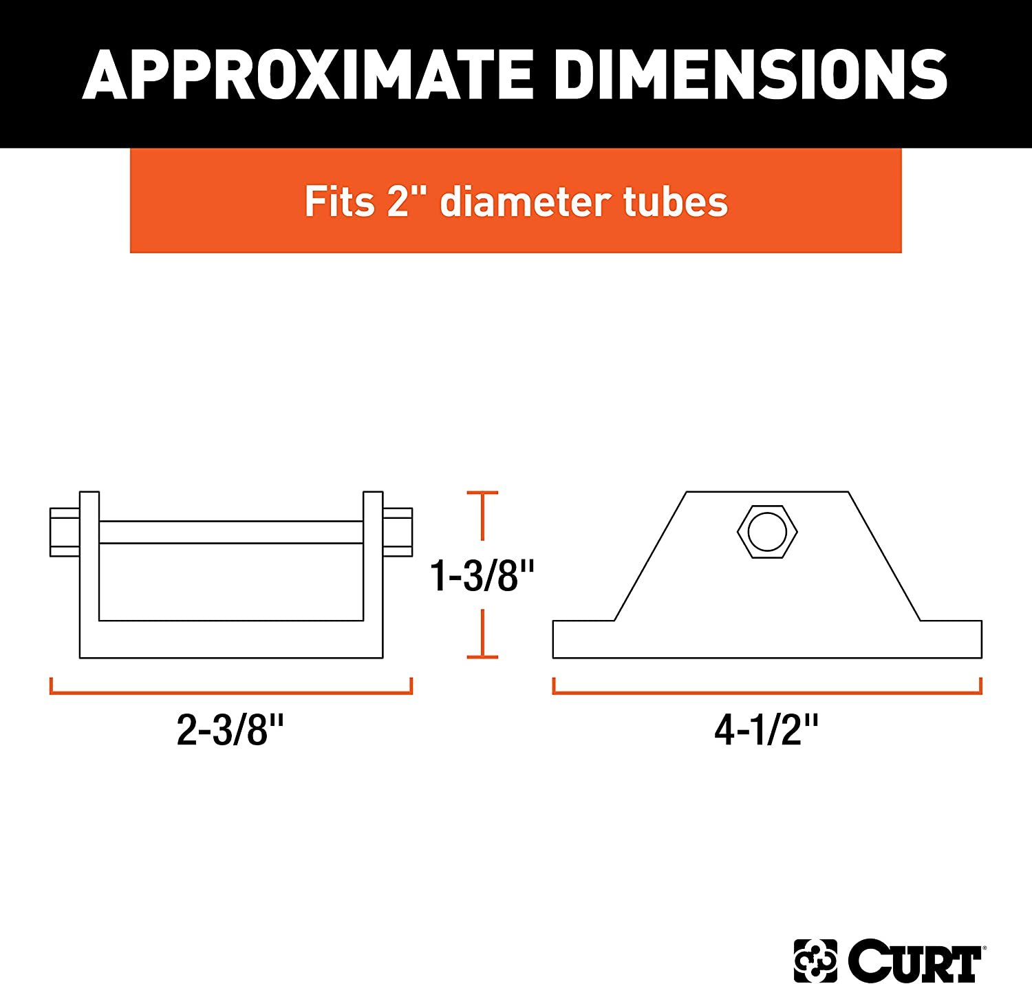 CURT 28271 Trailer Jack Foot Fits 2-Inch Diameter Tube Supports 2,000 lbs