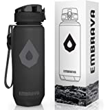 Embrava Water Bottle with Time Markers - 24 Ounce - For Sports, Gym & Hiking - BPA and BPS-Free - One-Click Opening - Leakpro
