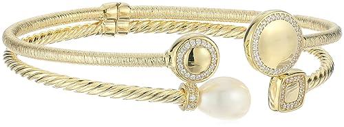 14k Yellow Gold italian Freshwater Pearl and Cubic Zirconia Bangle Bracelet