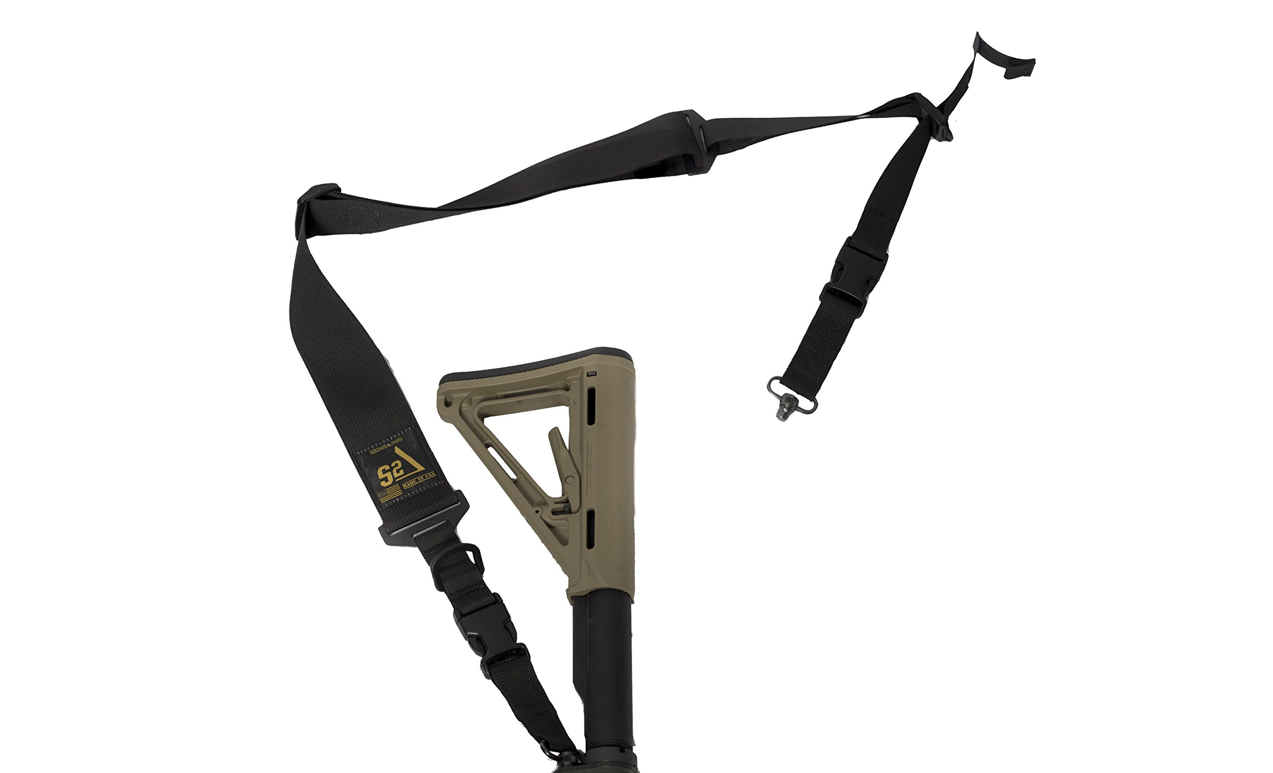 S2Delta - USA Made 2 Point Rifle Sling, Quick Adjustment, Modular Attachment Connections, Comfortable 2'' Wide Shoulder Strap to 1'' Attachment Ends (Black with Push Button Swivels) by S2Delta