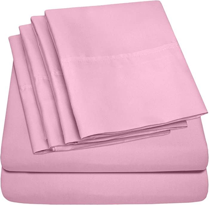 Sweet Home Collection 6PC-SHT-T-PNK 6 Piece 1500 Thread Count Egyptian Quality Deep Pocket Bed Sheet Set-2 EXTRA PILLOW CASES, VALUE-Twin, Pink, 4