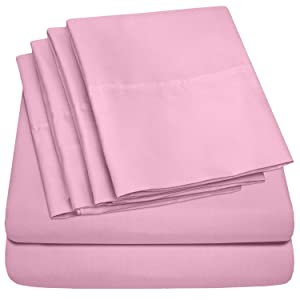 Cal King Size Bed Sheets - 6 Piece 1500 Thread Count Fine Brushed Microfiber Deep Pocket California King Sheet Set Bedding - 2 Extra Pillow Cases, Great Value, California King, Pink