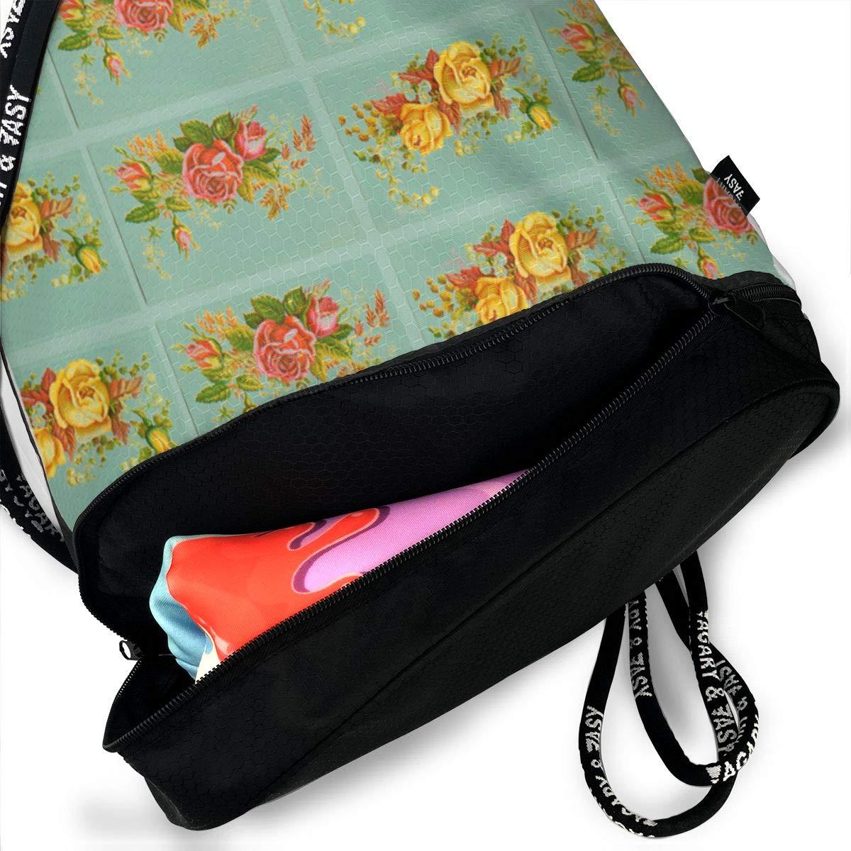 Retro Flower Drawstring Backpack Sports Athletic Gym Cinch Sack String Storage Bags for Hiking Travel Beach