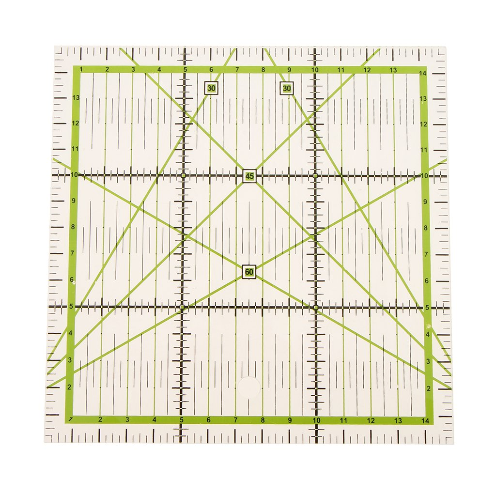 Fityle 15x15cm Transparent Plastic Square Quilt Ruler Patchwork Acrylic Rulers for DIY Sewing