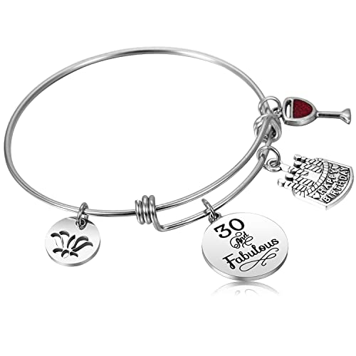 Hazado 30 Birthday Gifts For Women 30th Bangle Bracelet Happy Bracelets 1988