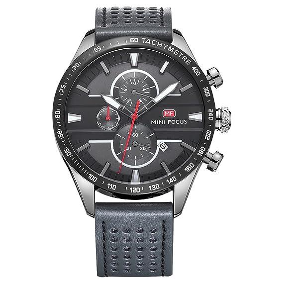 Mini Focus - Reloj analógico de cuarzo para hombre, correa de piel auténtica, reloj