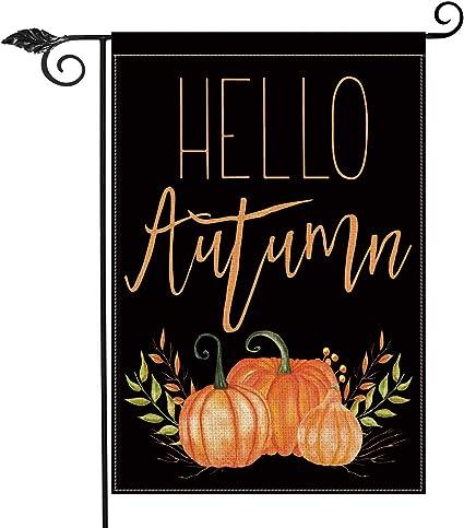 Amazon Com Avoin Hello Autumn Pumpkins Garden Flag Vertical Double Sided Seasonal Fall Harvest Vintage Thanksgiving Rustic Yard Outdoor Decoration 12 5 X 18 Inch Garden Outdoor