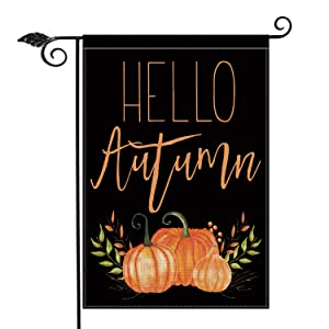 AVOIN Hello Autumn Pumpkins Garden Flag Vertical Double Sided, Seasonal Fall Harvest Vintage Thanksgiving Rustic Burlap Yard Outdoor Decoration 12.5 x 18 Inch