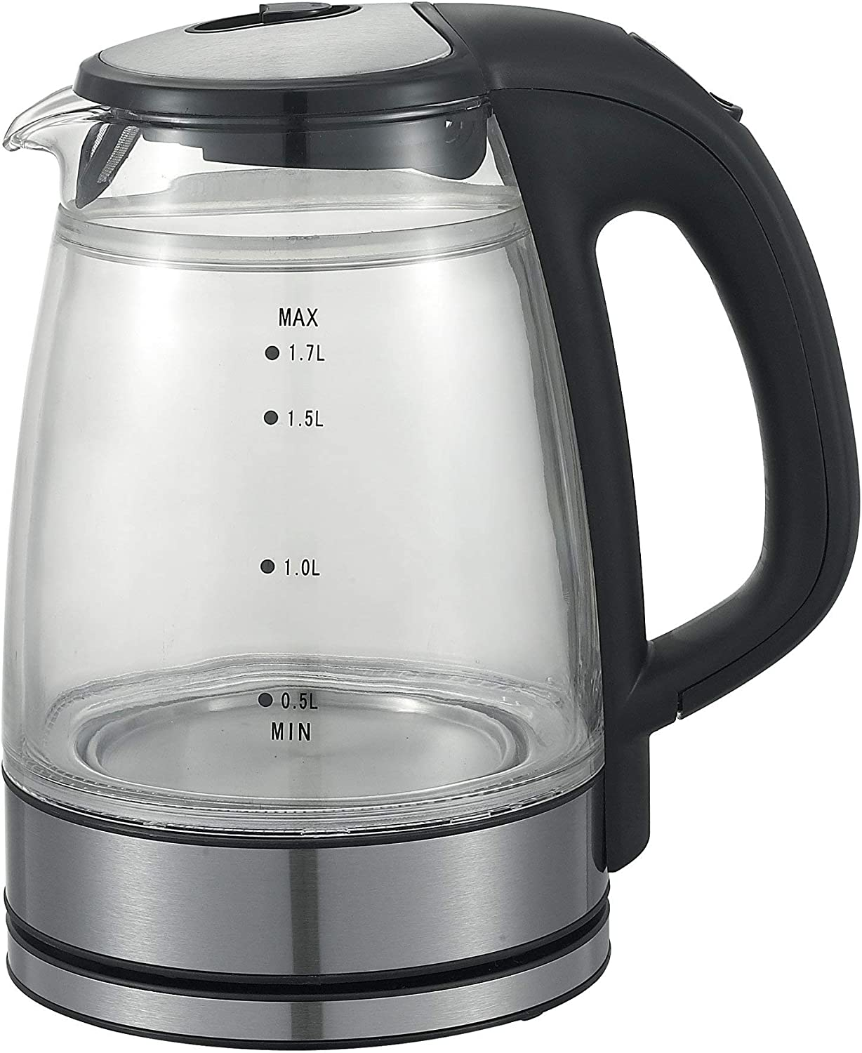Factory Store Queen Sense Electric Double Wall Glass Kettle Coffee Pot 1.7 Liter Cordless with LED Light BPA-Free with Auto Shut-Off, and Boil-Dry Protection GK1501