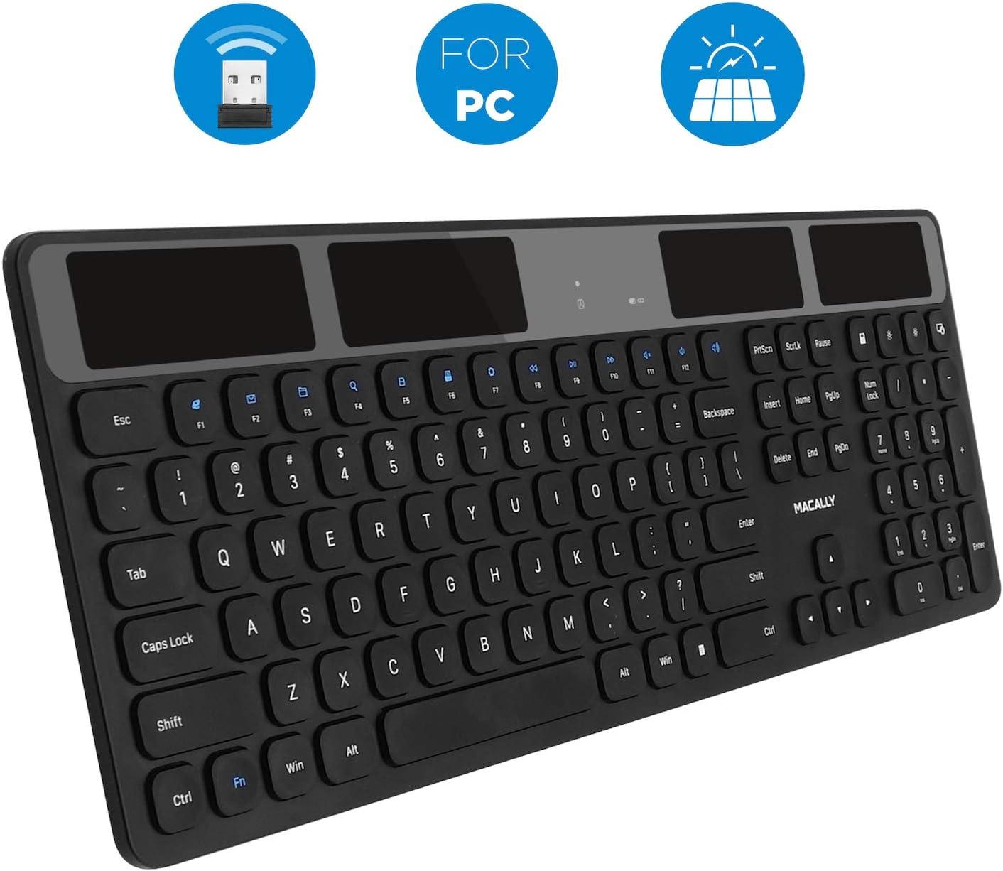 Macally Wireless Solar Keyboard for PC Computer Desktop, Laptops/Notebooks - Windows XP/Vista/7/8/9/10-2.4 GHz RF USB Dongle - Rechargeable Via Light - Caps Lock/Battery LED Indicators - Black