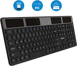 Macally Wireless Solar Keyboard for PC Computer Desktop, Laptops/Notebooks - Windows XP/Vista/7/8/9/10-2.4 GHz RF USB Dongle - Rechargeable Via Light - Caps Lock/Battery LED Indicators - Black